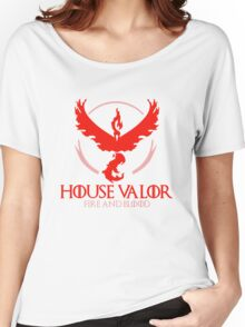 House Valor (GOT + Pokemon GO) Red text Women's Relaxed Fit T-Shirt