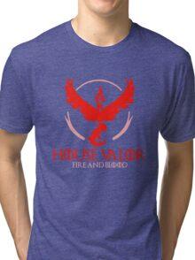 House Valor (GOT + Pokemon GO) Red text Tri-blend T-Shirt