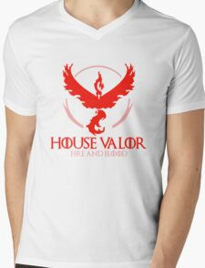 House Valor (GOT + Pokemon GO) Red text Mens V-Neck T-Shirt