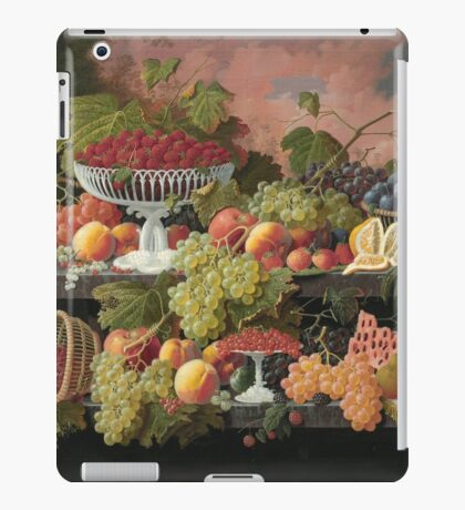 Severin Roesen - Two Tiered Still Life With Fruit And Sunset Landscape. Still life with fruits: strawberries , champagne,lemon, grapes , cherries, peaches, apples, pears, apricots, raspberries, vase iPad Case/Skin