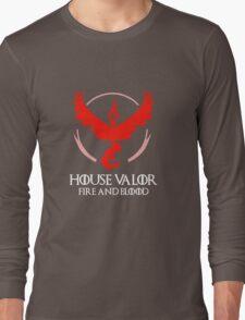 House Valor (GOT + Pokemon GO) White text Long Sleeve T-Shirt