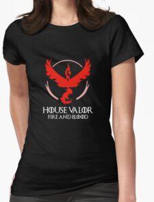 House Valor (GOT + Pokemon GO) White text Womens Fitted T-Shirt
