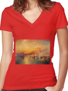 Thomas Moran - View Of Venice 1895. Urban landscape: city view, streets, building, house, Venice , cityscape, architecture, construction, travel landmarks, panorama garden, buildings Women's Fitted V-Neck T-Shirt