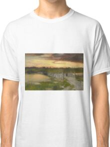 Thomas Moran - The Old Bridge Over Hook Pond, East Hampton, Long Island 1907. Country landscape: village view, country, buildings, house, rustic, farm, field, countryside road, trees, garden, flowers Classic T-Shirt