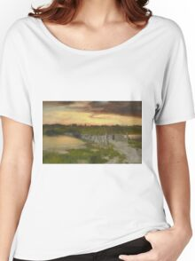 Thomas Moran - The Old Bridge Over Hook Pond, East Hampton, Long Island 1907. Country landscape: village view, country, buildings, house, rustic, farm, field, countryside road, trees, garden, flowers Women's Relaxed Fit T-Shirt