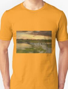 Thomas Moran - The Old Bridge Over Hook Pond, East Hampton, Long Island 1907. Country landscape: village view, country, buildings, house, rustic, farm, field, countryside road, trees, garden, flowers Unisex T-Shirt