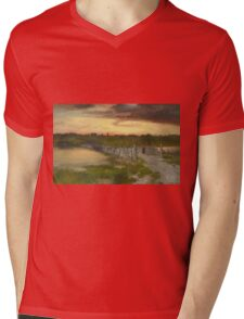 Thomas Moran - The Old Bridge Over Hook Pond, East Hampton, Long Island 1907. Country landscape: village view, country, buildings, house, rustic, farm, field, countryside road, trees, garden, flowers Mens V-Neck T-Shirt