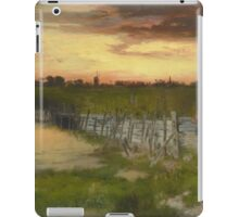 Thomas Moran - The Old Bridge Over Hook Pond, East Hampton, Long Island 1907. Country landscape: village view, country, buildings, house, rustic, farm, field, countryside road, trees, garden, flowers iPad Case/Skin