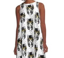 Hip Hop Angry Cat Design A-Line Dress