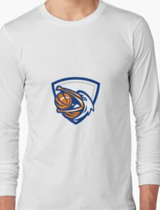 Pelican Basketball In Mouth Crest Retro Long Sleeve T-Shirt