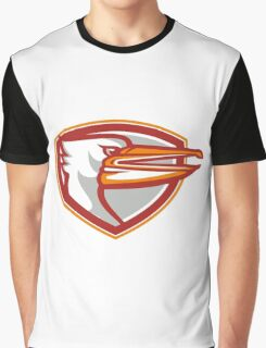 Angry Pelican Head Shield Retro Graphic T-Shirt