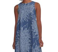 flower pattern (blue) A-Line Dress