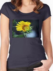 Sunflower with Bees Women's Fitted Scoop T-Shirt