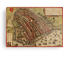 Amsterdam Vintage map.Geography Netherlands ,city view,building,political,Lithography,historical fashion,geo design,Cartography,Country,Science,history,urban Metal Print