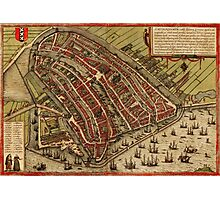 Amsterdam Vintage map.Geography Netherlands ,city view,building,political,Lithography,historical fashion,geo design,Cartography,Country,Science,history,urban Photographic Print