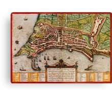 Ancona Vintage map.Geography Italy ,city view,building,political,Lithography,historical fashion,geo design,Cartography,Country,Science,history,urban Canvas Print