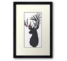 Stag with woodland antlers Framed Print