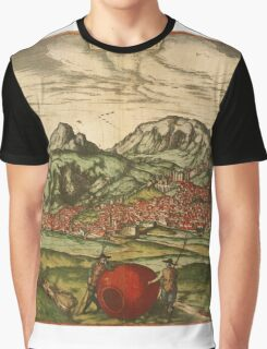 Antequera Vintage map.Geography Spain ,city view,building,political,Lithography,historical fashion,geo design,Cartography,Country,Science,history,urban Graphic T-Shirt