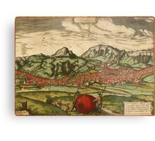 Antequera Vintage map.Geography Spain ,city view,building,political,Lithography,historical fashion,geo design,Cartography,Country,Science,history,urban Metal Print