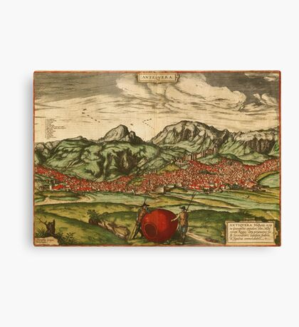 Antequera Vintage map.Geography Spain ,city view,building,political,Lithography,historical fashion,geo design,Cartography,Country,Science,history,urban Canvas Print