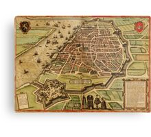 Antwerpen Vintage map.Geography Belgium ,city view,building,political,Lithography,historical fashion,geo design,Cartography,Country,Science,history,urban Metal Print