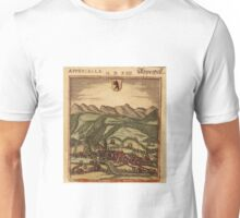 Appenzell Vintage map.Geography Switzerland ,city view,building,political,Lithography,historical fashion,geo design,Cartography,Country,Science,history,urban Unisex T-Shirt