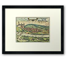 Arnsberg Vintage map.Geography Germany ,city view,building,political,Lithography,historical fashion,geo design,Cartography,Country,Science,history,urban Framed Print