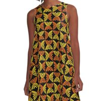Mud Cloth Style 080215 - Amber and Orange with Black A-Line Dress
