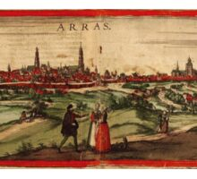 Arras Vintage map.Geography France ,city view,building,political,Lithography,historical fashion,geo design,Cartography,Country,Science,history,urban Sticker
