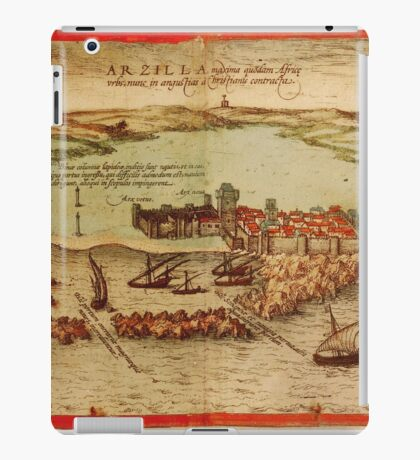 Asilah Vintage map.Geography Morocco ,city view,building,political,Lithography,historical fashion,geo design,Cartography,Country,Science,history,urban iPad Case/Skin