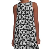 Mud Cloth Style 080215 - White on Black A-Line Dress