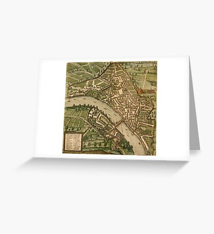 Basel 2 Vintage map.Geography Switzerland ,city view,building,political,Lithography,historical fashion,geo design,Cartography,Country,Science,history,urban Greeting Card