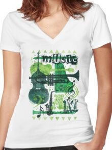 Music Jam Women's Fitted V-Neck T-Shirt