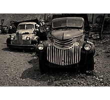 Two Old Trucks Toned Photographic Print