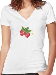 Strawberry Botanical Women's Fitted V-Neck T-Shirt