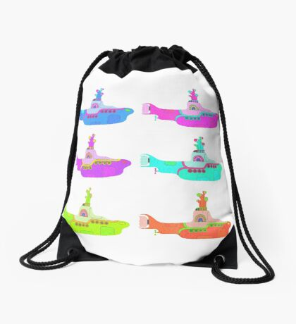 The Beatles' Yellow Submarine pop art theme Drawstring Bag