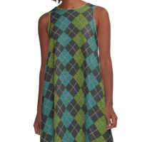 """Knit"" Green, Black, and Blue Argyle A-Line Dress"