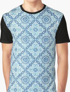 Blue Portuguese Tile Pattern Graphic T-Shirt