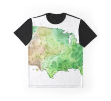 Map of the United States with Watercolor Texture Graphic T-Shirt