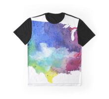 Map of the United States with Watercolor Texture in Rainbow Colors Graphic T-Shirt
