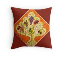 tree of life (orange) Throw Pillow