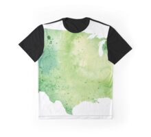 Map of the United States with Watercolor Texture in Green Graphic T-Shirt