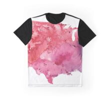 Map of the United States with Watercolor Texture in Red, Pink, and Purple Graphic T-Shirt