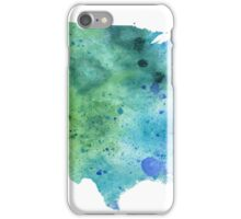 Map of the United States with Watercolor Texture in Blue and Green iPhone Case/Skin