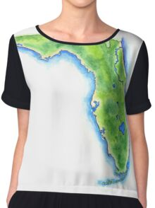 Hand Painted Watercolor Map of the US State of Florida  Chiffon Top