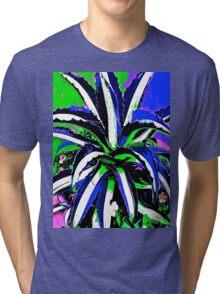 Cactus Glory Blue and White Tri-blend T-Shirt