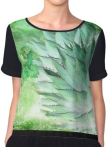 Agave green and white Chiffon Top