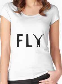 Funny Fly Graphic Design Women's Fitted Scoop T-Shirt