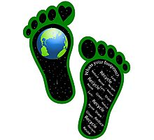 Green Eco Earth's Footprints Photographic Print