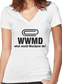 What Would MacGyver Do WWMD Women's Fitted V-Neck T-Shirt
